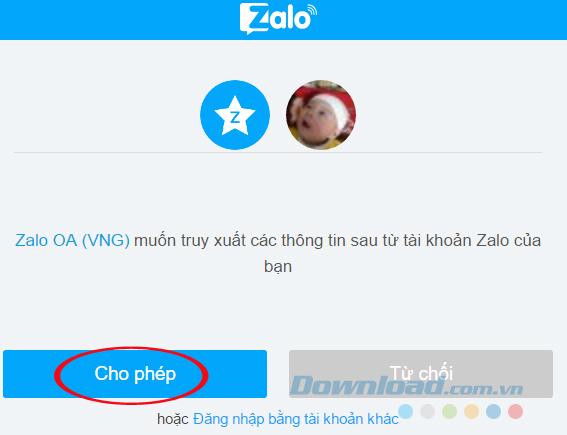 Đồng ý cho truy xuất thông tin từ Zalo