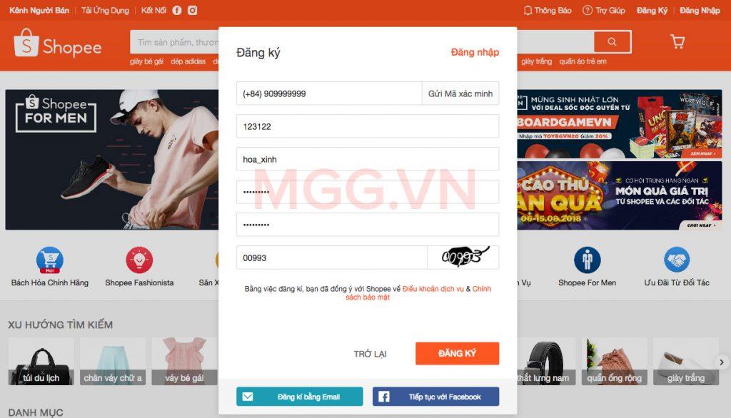Điền đầy đủ thông tin đăng ký Shopee