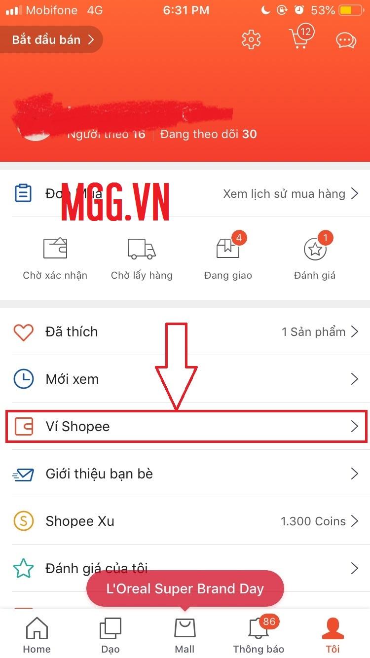 Hướng dẫn xem ví Shopee