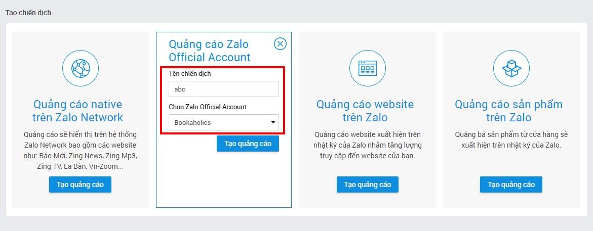 Hướng dẫn cách chạy quảng cáo Zalo official account