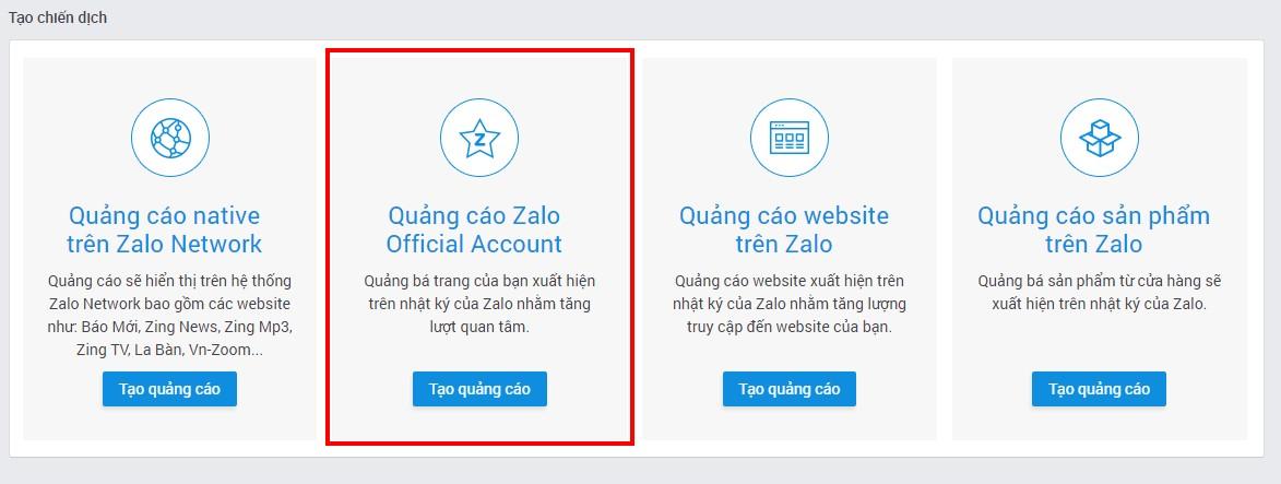 cách chạy quảng cáo Zalo official account