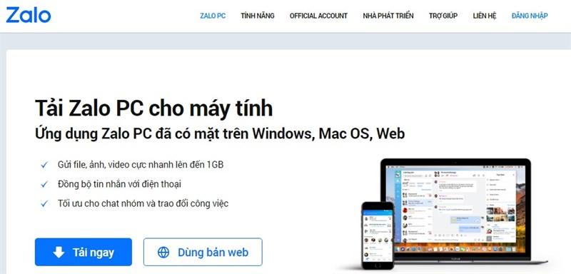 Sử dụng Zalo trên máy tính hoặc nền web