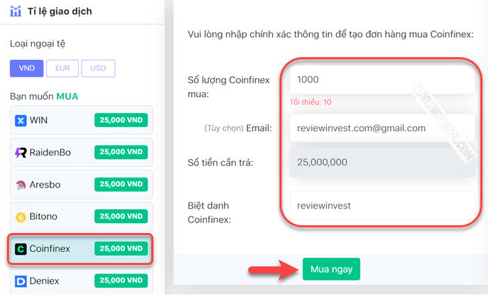 Bán Coinfinex trên DoNoiBo.Com
